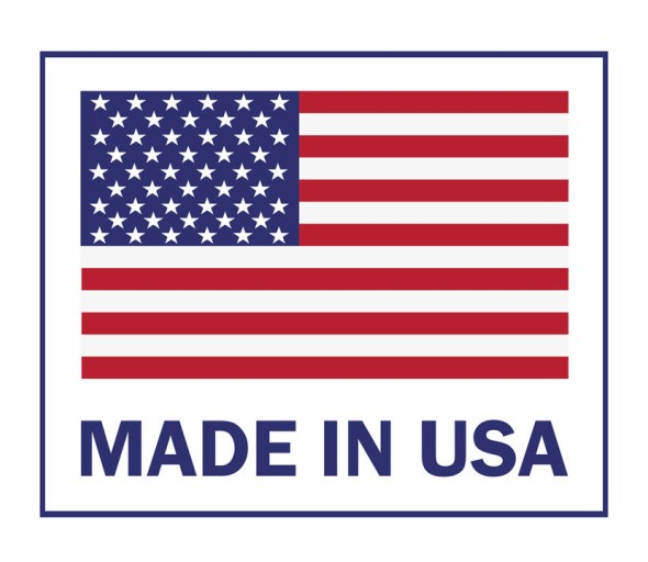 Made in the USA label with American flag. American patriotic icon. Vector